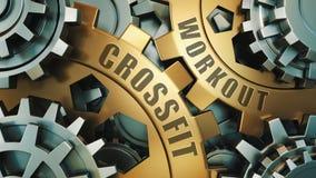 Concetto di allenamento di Crossfit Oro ed illustrazione d'argento del fondo del weel dell'ingranaggio illustrazione 3D illustrazione di stock
