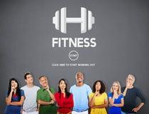 Concetto di allenamento di addestramento di forza fisica di salute di forma fisica Fotografia Stock