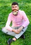 Concetto di allergia della primavera L'uomo barbuto con i fiori della margherita si siede su grassplot, fondo dell'erba Uomo con  Fotografia Stock