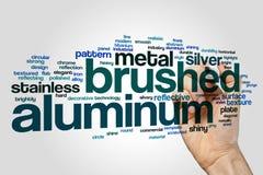 Concetto di alluminio spazzolato della nuvola di parola su fondo grigio Fotografia Stock