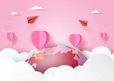Concetto di amore con l'aeroplano rosso delle coppie e le mongolfiere rosa che galleggiano sulle nuvole, sul mondo e sullo stile  fotografie stock libere da diritti