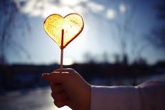 Concetto di amore con la caramella del cuore Immagine Stock