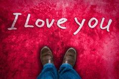 Concetto di amore con le scarpe di cuoio di Brown Immagini Stock Libere da Diritti