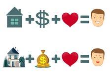 Concetto di amore, della casa e dei soldi - felicità uguale royalty illustrazione gratis
