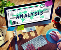 Concetto di analisi dei dati di vendita di strategia di pianificazione di analisi Fotografia Stock Libera da Diritti