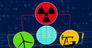 Concetto di animazione di estrazione mineraria di Bitcoin con energia nucleare dell'olio e del generatore eolico royalty illustrazione gratis