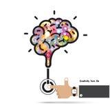 Concetto di apertura del cervello Progettazione creativa di logo di vettore dell'estratto del cervello Fotografie Stock