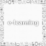 Concetto di apprendimento a distanza Insieme della linea sottile icone di istruzione nel nero Vector il modello dell'insegna con  Fotografia Stock