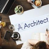 Concetto di Architecture Compass Construction dell'architetto Immagine Stock