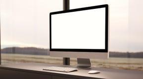 Concetto di area di lavoro con il computer generico di progettazione Fotografia Stock Libera da Diritti