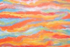 Concetto di arte moderna Pennellate di pittura L'orizzontale ha sottratto le onde colourful Capolavoro reale dell'artista di tale Fotografie Stock Libere da Diritti