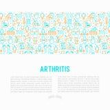 Concetto di artrite con la linea sottile icone illustrazione di stock