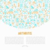 Concetto di artrite con la linea sottile icone illustrazione vettoriale