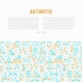Concetto di artrite con la linea sottile icone royalty illustrazione gratis