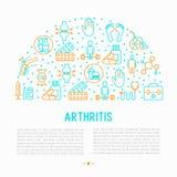 Concetto di artrite nel cerchio con la linea sottile icone illustrazione di stock