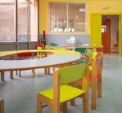 Concetto di asilo Vista interna della cena dei babys fotografie stock