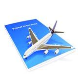 Concetto di assicurazione di viaggio con jet Fotografie Stock Libere da Diritti