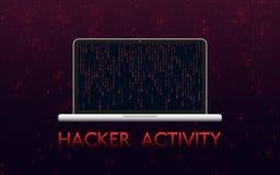 Concetto di attività del pirata informatico Computer portatile inciso su fondo binario rosso Progettazione di malware con il cont royalty illustrazione gratis