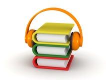 Concetto di audiolibro - libri 3D e cuffie Fotografie Stock