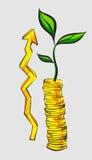 Concetto di aumento del reddito, pile dorate delle monete con l'albero dei soldi, retro illustrazione di vettore di stile Immagini Stock