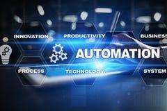 Concetto di automazione come innovazione, migliorando produttività nella tecnologia e nei processi aziendali Fotografie Stock Libere da Diritti