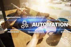 Concetto di automazione come innovazione, migliorante produttività nei processi di tecnologia Fotografie Stock Libere da Diritti