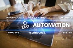 Concetto di automazione come innovazione, migliorante produttività nei processi di tecnologia Fotografia Stock