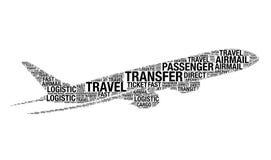 Concetto di aviazione fatto con le parole illustrazione di stock