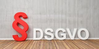 Concetto di base di regolamento di protezione dei dati di DSGVO con il simbolo rosso di paragrafo sul muro di cemento grigio - ra Immagini Stock Libere da Diritti