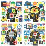 Concetto di base di vettore della testa piana di progettazione di Infographic di creatività e di ricerca, media sociali, tecnolog illustrazione di stock