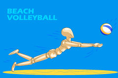 Concetto di beach volley con il manichino umano di legno Fotografia Stock Libera da Diritti