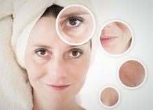 concetto di bellezza - cura di pelle, procedure antinvecchiamento, ringiovanimento, Fotografia Stock Libera da Diritti