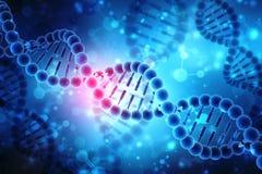 Concetto di biochimica con la molecola del DNA isolata nel fondo MEDICO, rappresentazione 3d Immagini Stock