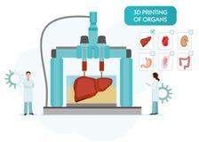 Concetto di Bioprinting, stampa 3D del fegato, stomaco, polmoni, reni e cuore scienziati con la stampante 3D colorful illustrazione vettoriale