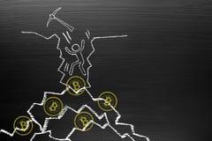 Concetto di Bitcoin Cryptocurrency Sulla lavagna con lo scarabocchio del gesso, Fotografia Stock