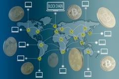 Concetto di Bitcoin e di Blockchain Fotografie Stock