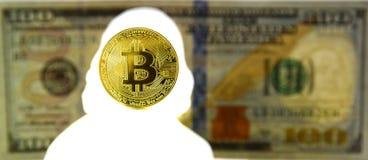 Concetto di Bitcoin Nuova valuta del mondo Moneta di oro di Bitcoin e del si fotografia stock libera da diritti