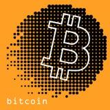 Concetto di Bitcoin Sospiro di logo di Cryptocurrency Fondi Digital Catena di blocco, simbolo di finanza Illustrazione piana di v Immagini Stock