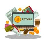 Concetto di Bitcoins Computer portatile, carte di credito e monete Fotografia Stock