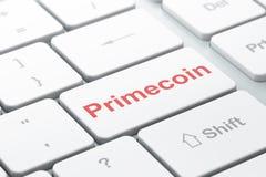 Concetto di Blockchain: Primecoin sul fondo della tastiera di computer Immagine Stock Libera da Diritti