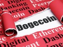 Concetto di Blockchain: testo nero Dogecoin nell'ambito del pezzo di carta lacerata Immagine Stock