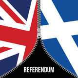 Concetto di Brexit Bandierina britannica Bandiera dello Scottish Referendum scozzese Simbolo dell'uscita imminente della Scozia d Fotografia Stock Libera da Diritti