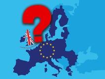 Concetto di Brexit - economia BRITANNICA dopo Brexit con un grande punto interrogativo rosso - il Regno Unito come una bandiera e illustrazione di stock
