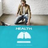 Concetto di bronchite di asma di polmonite della medicina dei polmoni Fotografia Stock