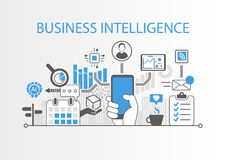 Concetto di business intelligence come illustrazione del fondo con i vari simboli Fotografie Stock