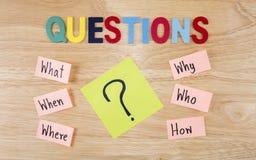 Concetto 5 di Busniess di domande Immagine Stock