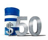 Concetto di caduta di prezzo del petrolio come barilotto dei petroli greggi e del simbolo di dollaro con i prezzi diminuenti di p Fotografie Stock