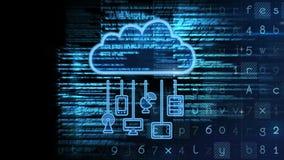 Concetto di calcolo di animazione della nuvola digitale concettuale di rappresentazione archivi video