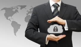 Concetto di calcolo assicurato della nuvola online con l'affare Immagine Stock Libera da Diritti
