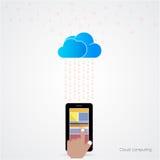 Concetto di calcolo del fondo di tecnologia piana della nuvola Archiviazione di dati Immagine Stock